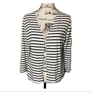 Alembika Striped Button Down Top 3/4 Sleeve